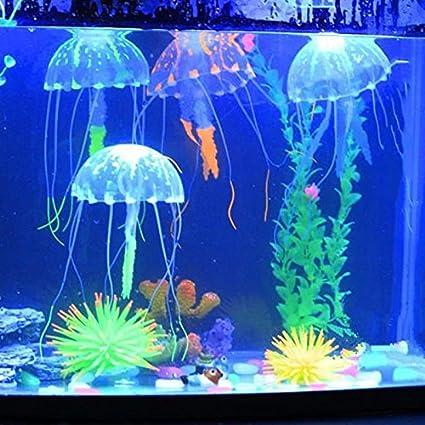 GUOYIHUA Acuático Mascotas Suministros Glowing Efecto Artificial Fake Jellyfish para pecera Tank Decoración Adorno: Amazon.es: Productos para mascotas