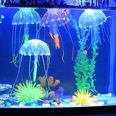 Jellyfish - Adorno para acuario, diseño de pecera artificial, para decoración de mascotas 5×15cm azul: Amazon.es: Hogar