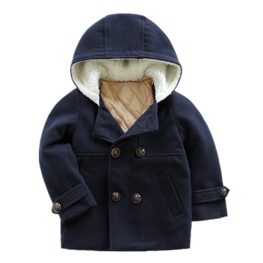 LittleSpring Little Boys Dress Coat Buttons Hooded