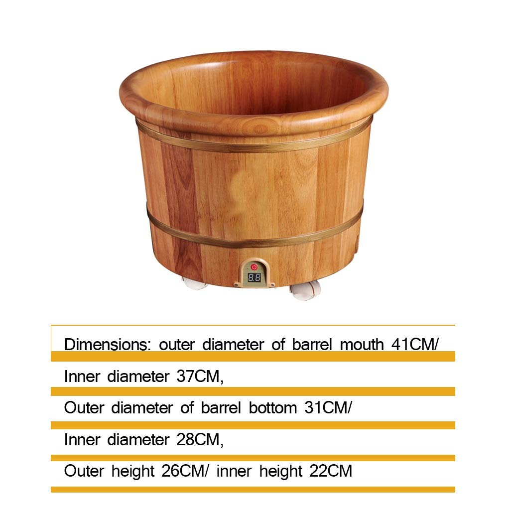 Foot Bath Tub,Household Constant Temperature Wooden Barrel,26 High Oak Automatic Heated Foot Bath Barrel,Heightening Steamed Foot Artifact (Size : A)