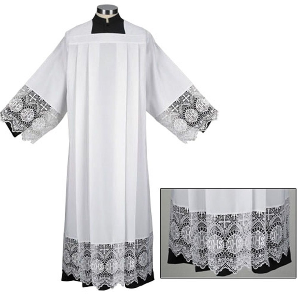 Liturgical Church Garment IHS Lace Polyester Surplice (Large - Back: 41'' L / Sleeve: 29'' / Fit Height: 6'0'' - 6'3'') by Trinity