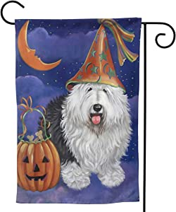 MINIOZE Halloween Jack O'Lantern Old Sheep Dog Witch White Big Large Jumbo for Party Themed Flag Welcome Outdoor Outside Decorations Ornament Picks Garden Yard Decor Double Sided 12.5X 18 Flag