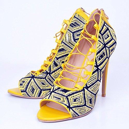 Kolnoo Damen Faschion 100mm Lace Up Cross Open-toe Slim High Heel Party Prom Shoes Yellow