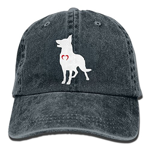 Baseball Jeans Cap German Shepherd with Heart-1 Men Women Golf Hats Adjustable Baseball (German Shepherd Hat)