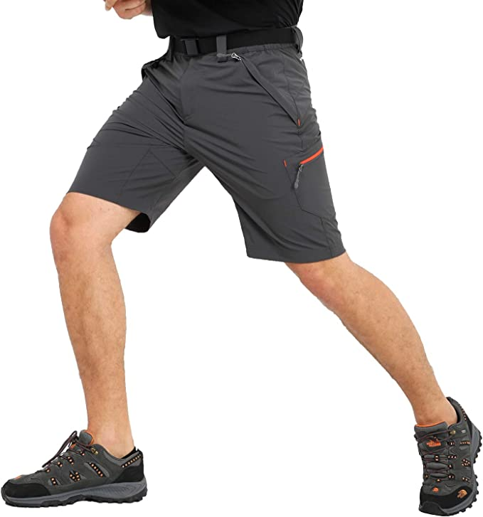Water Resistant MIER Mens Stretch Hiking Shorts Quick Dry Nylon Cargo Shorts with Zipper Pockets