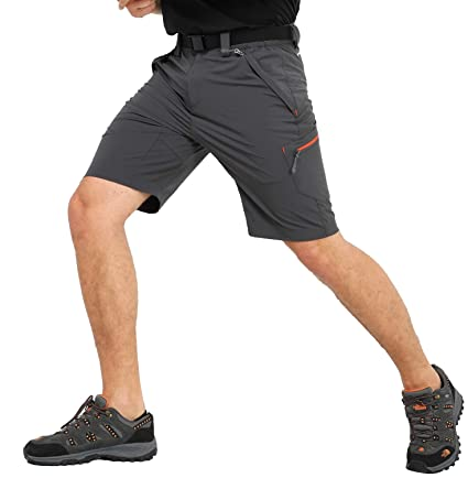 b47afc2f95 MIER Men's Quick Dry Nylon Cargo Shorts Lightweight Hiking Shorts with  Zipper Pockets, Partial Elastic