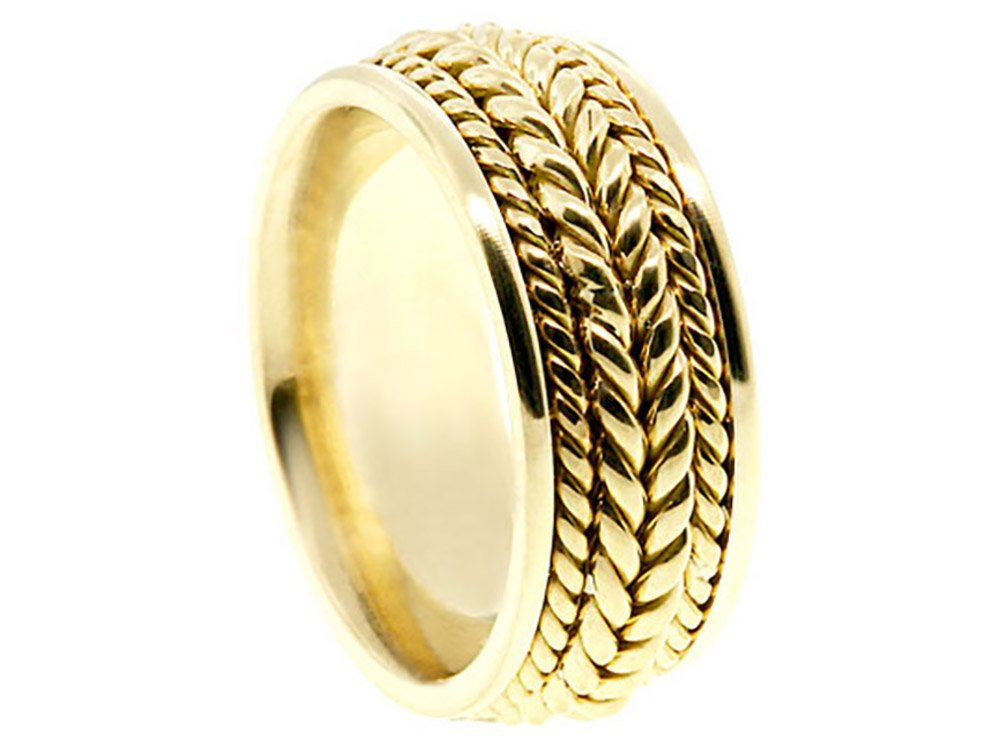Men's 14k Yellow Gold Braided 8mm Comfort Fit Wedding Band Ring size 13
