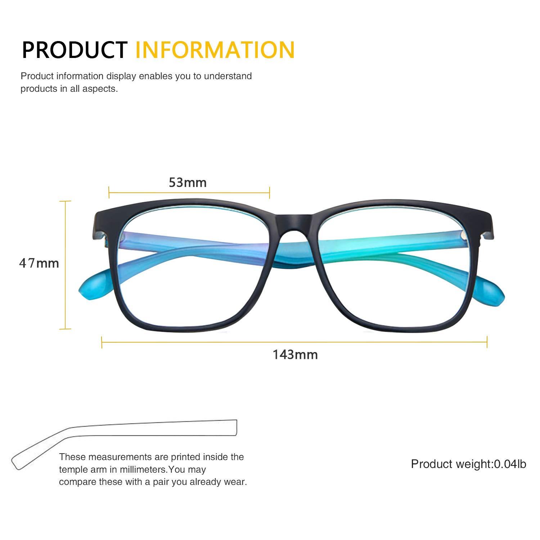 Tablet//Phone Reading Blue and Twilight Blue Light Blocking Glasses 2 Pack Rectangle Glasses Sleep Better TV Reduce Eyestrain /& Fatigue When Gaming