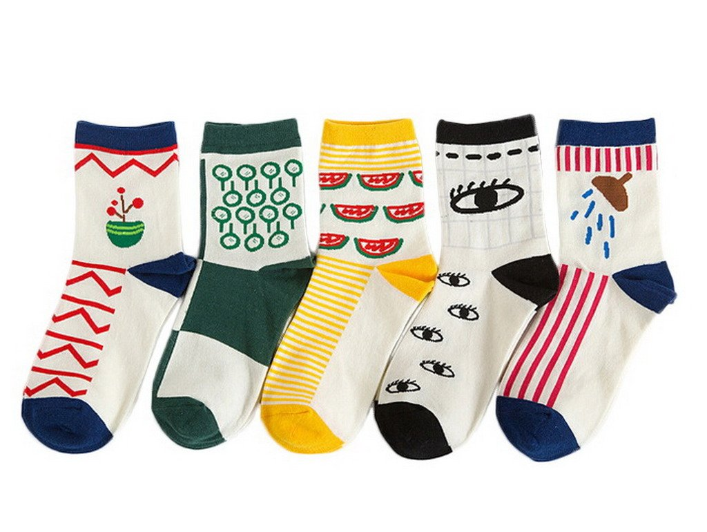 Xiang Ru 5pcs Women Cartoon Print Cotton Casual Crew Socks Color Random Style 8