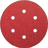 Bosch 2609256A31 Feuilles abrasives pour Ponceuses excentriques Diamètre 150 mm 6 trous Grain 80 Lot de 5 feuilles