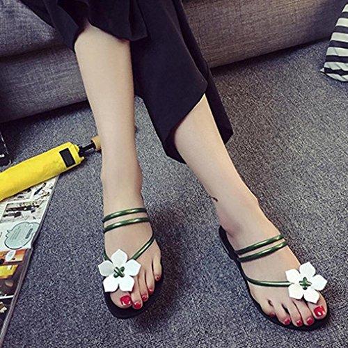 Elecenty Sandalen Damen,Schuhe 3D Blume Shoes Schuh Hausschuhe Zehentrenner Geflochten Sommerschuhe T-Strap Sandaletten Frauen Sommer Offene Flach Badesandalette Elegante Strandschuhe Grün