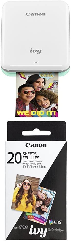 Canon IVY Mobile, Portable Mini Photo Printer, Mint Green with Zink Photo Paper Pack, 20 sheets