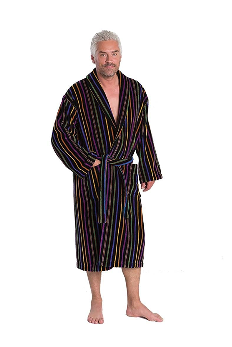 Mens Blue Label Luxury Egyptian Cotton Velour Gown With Double Belt Loops (Mozart) in Size Small to 4XL