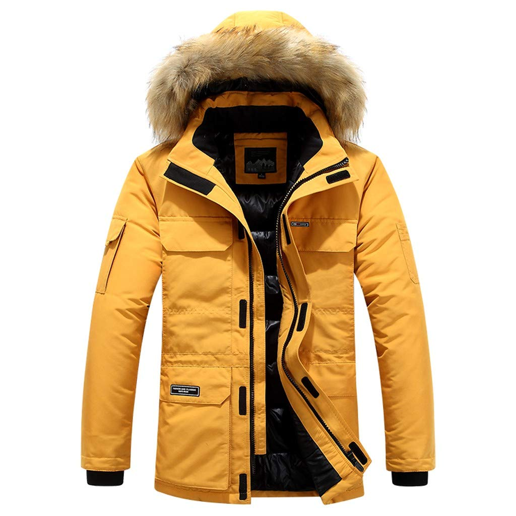 Fashion Men's Autumn Winter Warm Casual Pocket Cotton-Padded Clothes Top Thick Padded Jacket Coat Yellow by Han1dsome tops