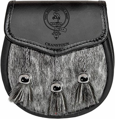 Cranstoun Semi Sporran Fur Plain Leather Flap Scottish Clan Crest