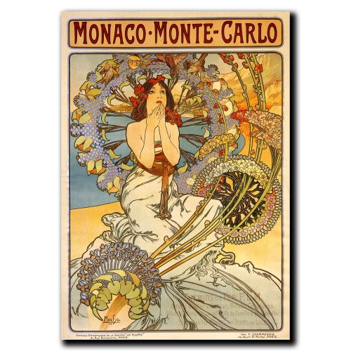 Alphonse Mucha Paintings - Monaco-Monte Carlo by Alphonse Mucha, 35x47-Inch Canvas Wall Art