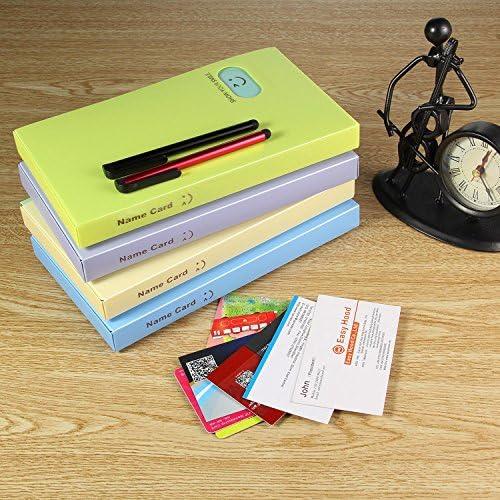 Organizer per biglietti da visita in pelle PU Aolvo cute porta biglietti nome card Book Holder Art presentazione del libro di carta per uomini e donne ufficio scuola scrivania Tabs organizer Yellow