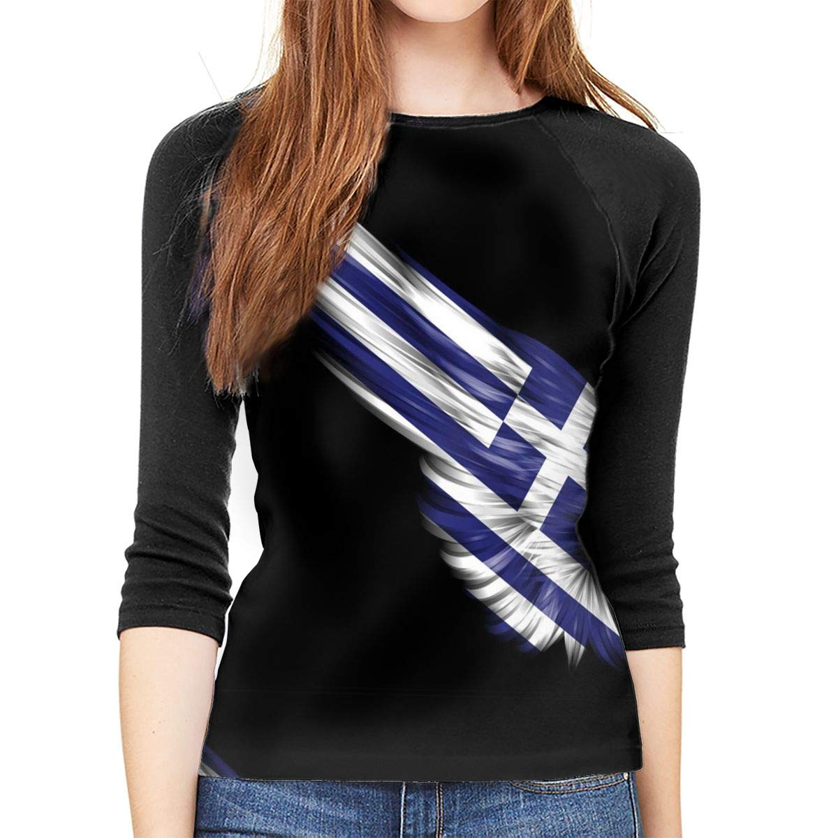 SHDFhgHGF The Wings of The Greek Flag Womens 3//4 Sleeve Casual Scoop Neck Tops Tee