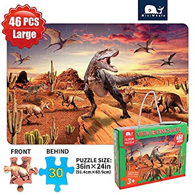 Kids Puzzle Dinosaur Puzzle Learning Educational Puzzle Helps 3-8 Age Old Children's Intellectual Development.Puzzles Toys for Boys and Girls (46Pcs,Large size2.3x1.6 Feet): Toys & Games