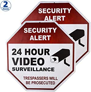 dojune-UV Protected and Weatherproof Thick Rust Free Metal No Trespassing This Property is Protected by Video Surveillance Trespassers Will Be Prosecuted Sign