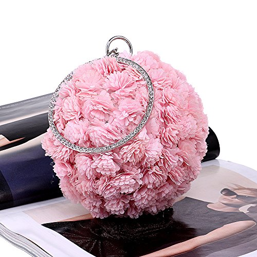 Women Prom Evening Flowers Gift Handmade Spherical Clutch Wedding Shoulder Purse For Party Bag Pink Clubs Bag Handbag Bridal Ladies rpYwr1t6q