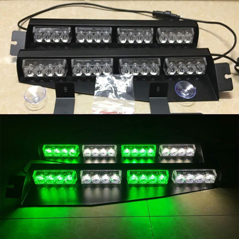 """34/"""" 32LED Emergency Warning Strobe Visor Mount Deck Dash Light Bar Amber White"""