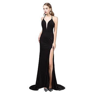 43ab287af474 LCRS Women's Long Velvet Plunging V-Neck Mermaid Evening Dresses Sexy  Halter High Side Slit