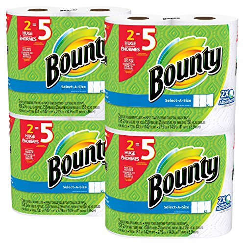 Price comparison product image Bounty Select-a-Size Paper Towels, White, Huge Roll, 8 Count