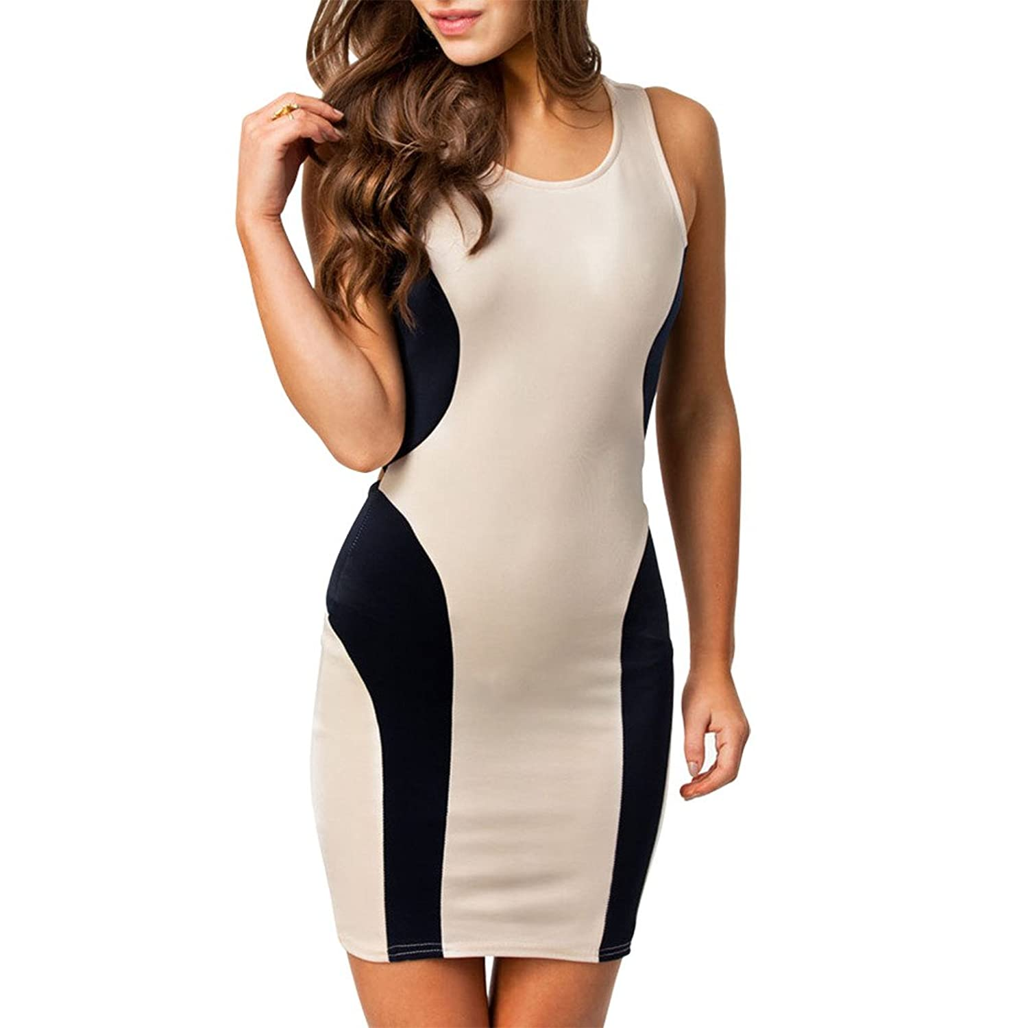 Women's sexy Tunic Patch Contrast Color cross back Sleeveless Bodycon Pencil Dress