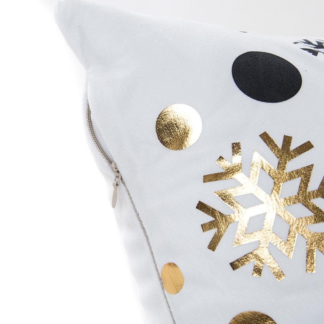 sunnymi Frohe Weihnachten Gold Folie Drucken ★ Kissenbezug 45X45cm ★Taille Wurf Kissenbezug Home Decor//Sofa Coffee Shop Bibliothek Buchladen Party Club A