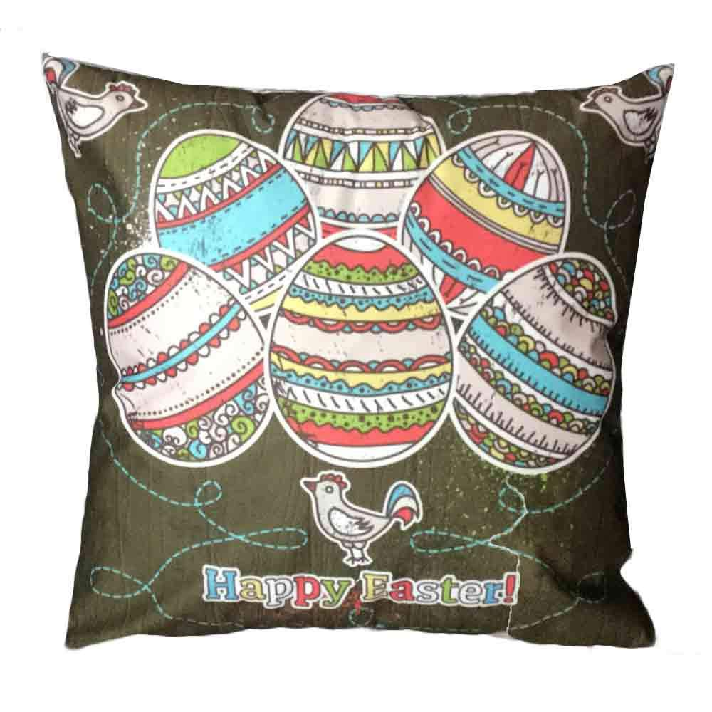 Pgojuni Easter Sofa Bed Home Decoration Festival Pillow Cover Easter Eggs Pillow Case Cushion Cover (E)