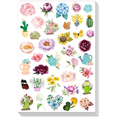 HaokHome S-010 140pcs Stickers for Water Bottles Vinyl Poney Flower Stickers for Kids Teens Phone Scrapbook Envelopes Cars Wall Hydro Flask Vsco Laptop Luggage Computer Notebook Journal Planner: Home Improvement