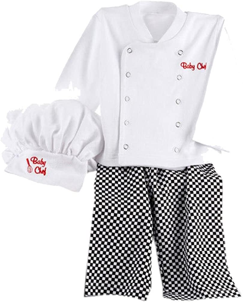 Chef Cosplay Outfits Baby Boys Baby Chef T-Shirt Tops+Pants Cap Kids Clothes Set Clode for 9-18 Months Baby