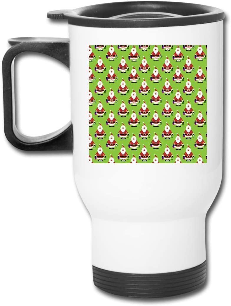 Bestqe Taza Aislada con Asa, Taza de Viaje Santa Claus Pile Coffee/Tea/Car Mugs Cups Office Staff White 400ML