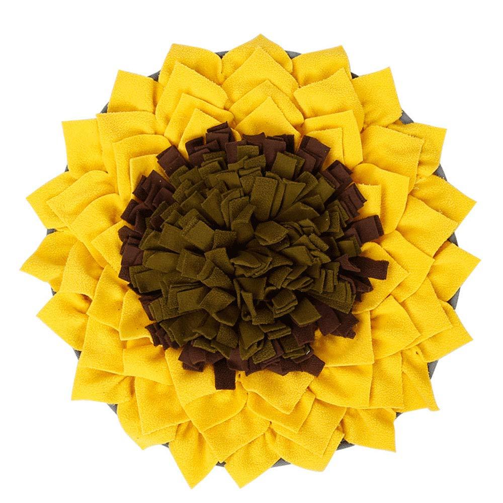 Noseeyou Pet Snuffle Mat Sunflower Flower Pattern Foraging Mat Pet Training Feeding Stress Release Pad48×48Cm(Yellow)