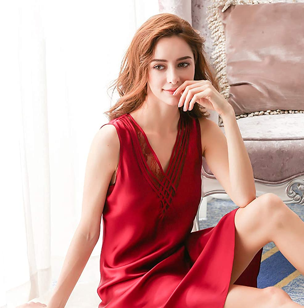 LEIQIA Ladies Full Silk Nightdress with V Neck 100/% Pure Silk Nightgown Chemise for Women