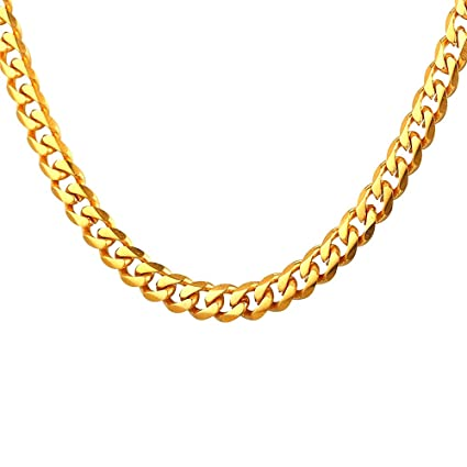 Buy TUOKAY 18K Small Gold Chain Necklace 5mm Width 7ac934e48965