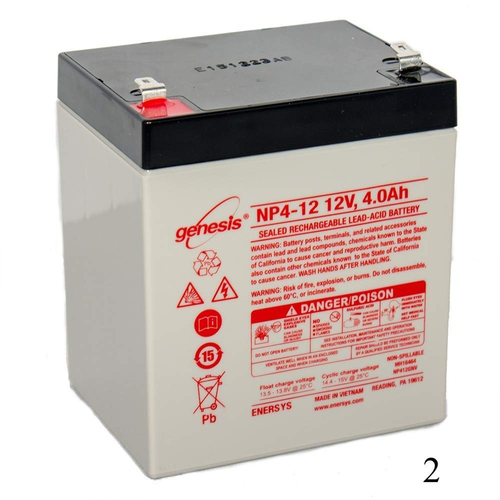 EnerSys Genesis NP4-12 - 12 Volt/4 Amp Hour Sealed Lead Acid Battery with 0.187 Fast-on Connector (2 Pack)