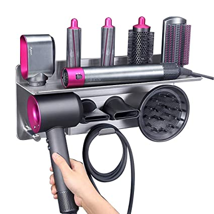 Amazon.com: Hair Dryer Holder for Dyson Supersonic Hair Dryer, for Dyson Airwrap Styler Organizer Storage Shelf 2in1 Wall Mounted Stand Fits Curler Diffuser Two Nozzles for Bathroom Bedroom Hair Salon Barbershop: Beauty