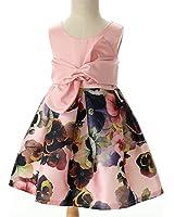 Kidscool Little Girls Sleeveless Flower Print Ball Gown Formal Dress