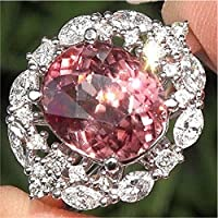 Pink Sapphire White Topaz 925 Silver Jewelry Woman Man Engagement Ring Size 6-10 (7)