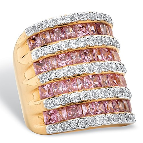 Palm Beach Jewelry 14K Yellow Gold-Plated Princess Cut Pink and White Cubic Zirconia Channel Multi-Row Set Ring Size 7