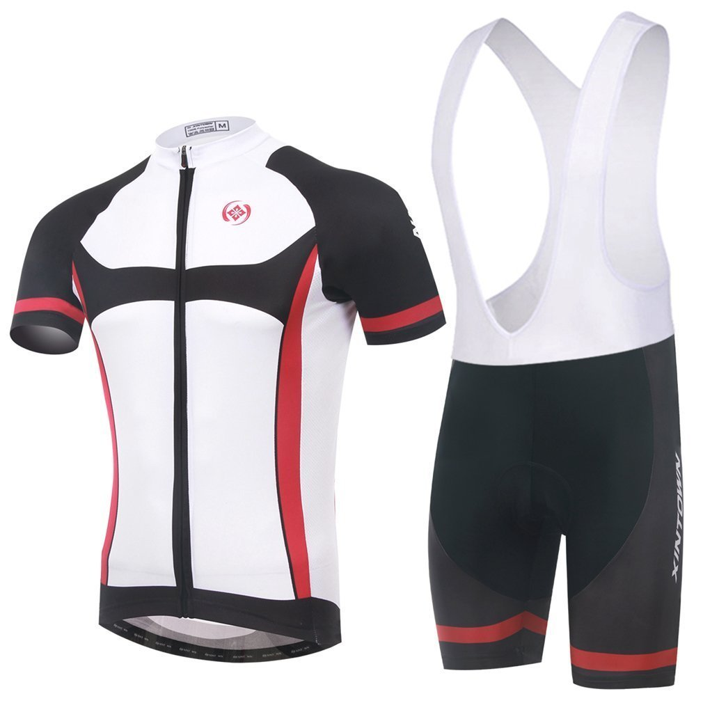 BESYL Unisex White Black Red Printed High-Performance Mesh Cycling Clothing Kit, Cycling Jerseys Short Sleeve and Shorts Suit for Bike, Biker, Bicycle, Riding
