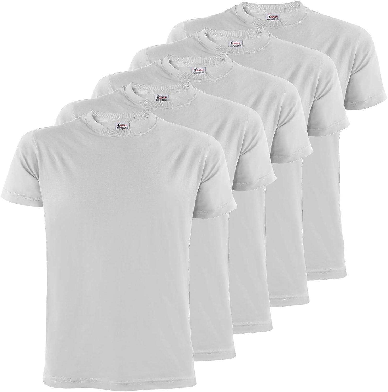 ALPIDEX T-Shirt Camiseta para Hombre un Juego de 5 con Cuello Redondo - Unicolor Tallas SML XL XXL 3XL 4XL