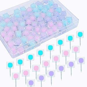 Yalis Square Thumb Tacks Clear Colors Decorative Thumbtacks and Push Pins for Memo Board or Cork Board, Box of 80 pcs