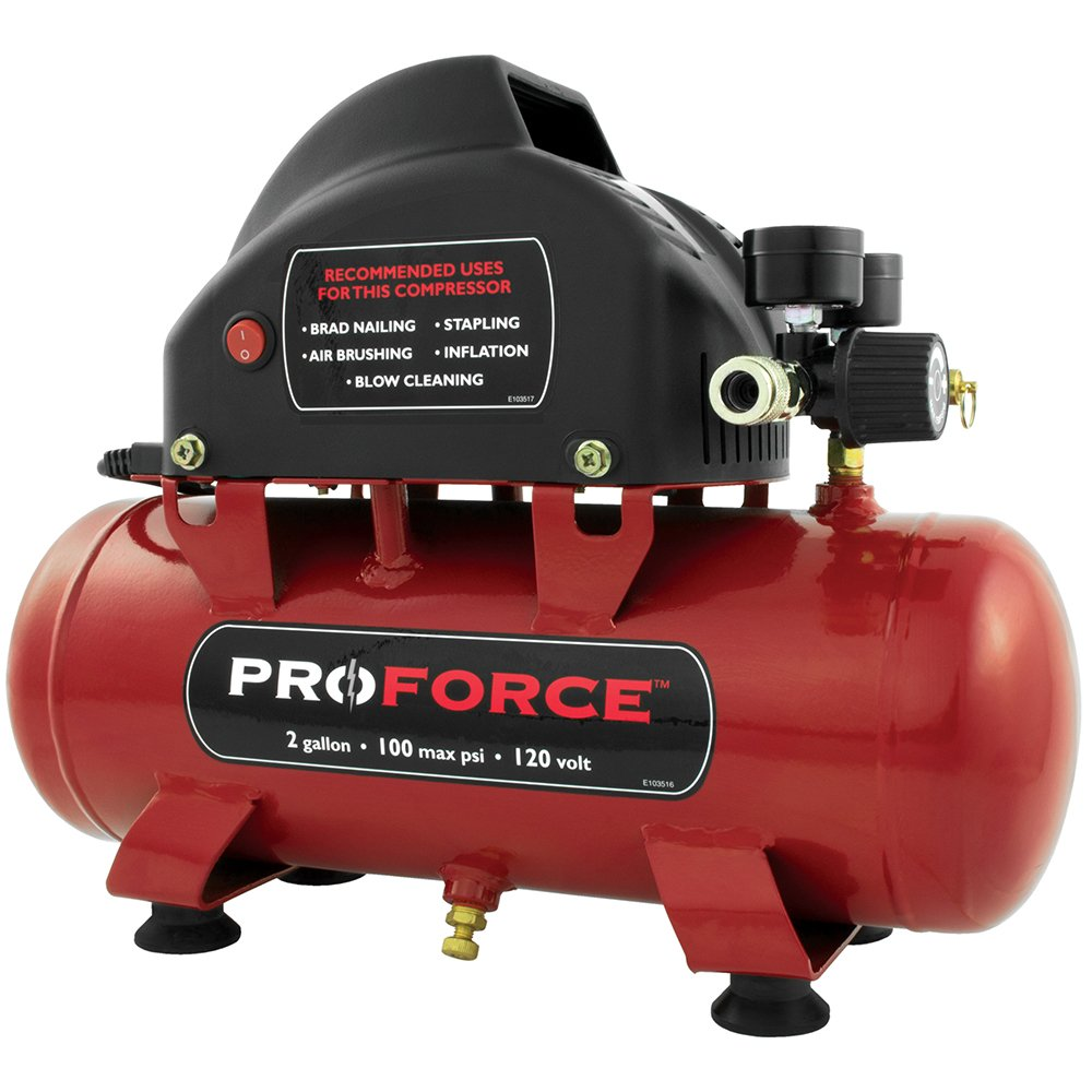 Pro-Force VPF0000201 2-Gallon Oil Free Air Compressor with Kit - Tire Air  Compressor - Amazon.com