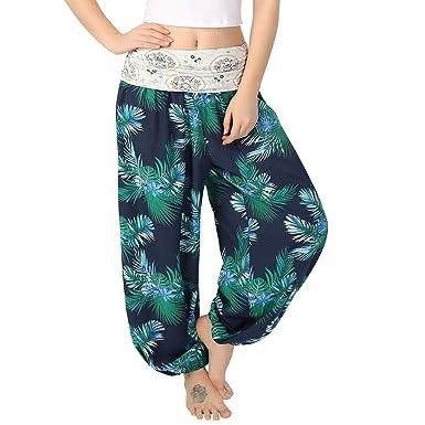 Sommer Damen Strandhose Yoga Stoff Hose Freizeithose Harem Pumphose Ballonhose