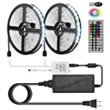 New Ver. Led Strip Lights, Kwanan 32.8Ft(10M) Led Light Strip Kit Waterproof DC12V 5050RGB 300leds Flexible Strip Lights with Double PCB 44Key Remote,Stronger 3M Sponge Adhesive Tape and 5A Adapter