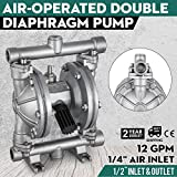 VEVOR Double Diaphragm 12 GPM Air Operated Double Diaphragm Pump 1/2Inch Stainless Steel Air-Operated Diaphragm Pump 120 PSI Double Diaphragm Air Pump (QBK-15P)