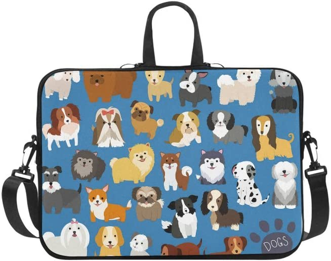 INTERESTPRINT Laptop Carrying Bag Set of Dog Breeds Notebook Sleeve Case Cover 13 Inch 13.3 Inch